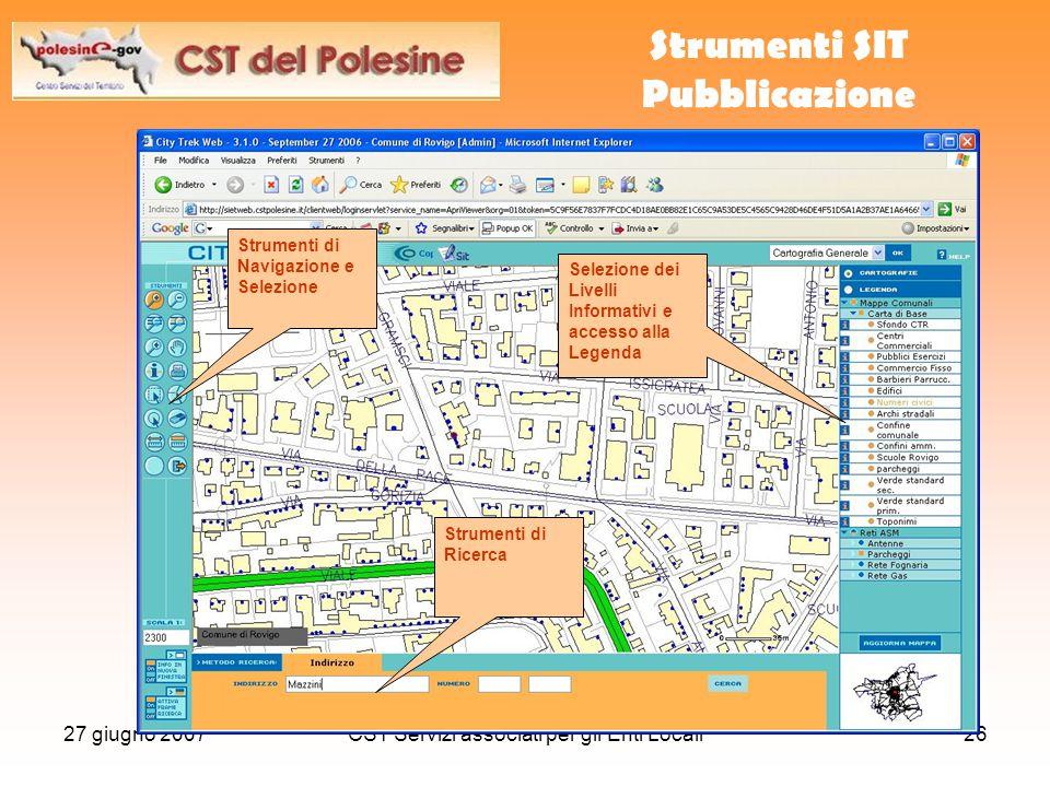 27 giugno 2007CST Servizi associati per gli Enti Locali26 Accesso Ente Strumenti SIT Pubblicazione Strumenti di Ricerca Strumenti di Navigazione e Sel