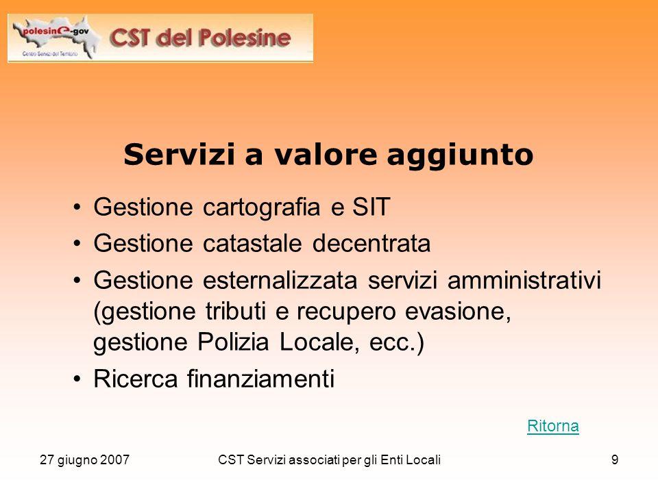 27 giugno 2007CST Servizi associati per gli Enti Locali9 Servizi a valore aggiunto Gestione cartografia e SIT Gestione catastale decentrata Gestione e