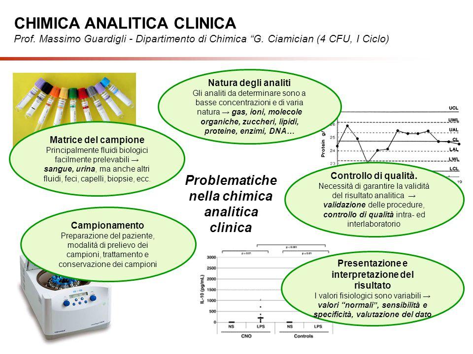 Problematiche nella chimica analitica clinica Natura degli analiti Gli analiti da determinare sono a basse concentrazioni e di varia natura → gas, ion