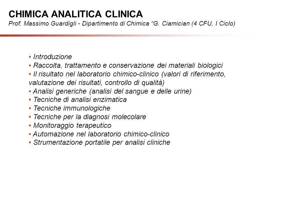 Introduzione Raccolta, trattamento e conservazione dei materiali biologici Il risultato nel laboratorio chimico-clinico (valori di riferimento, valuta