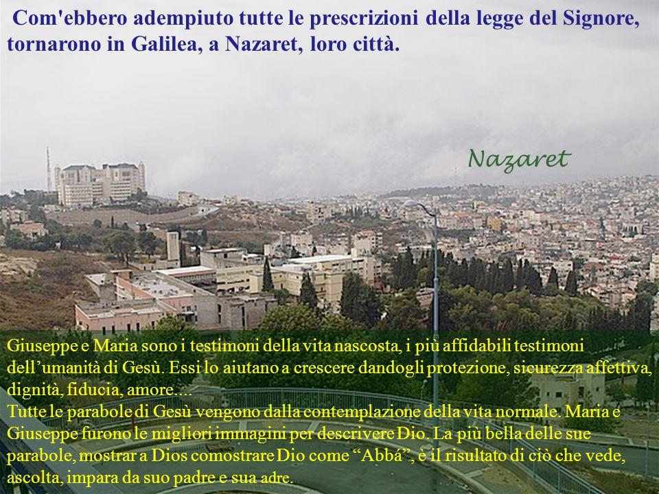 Com ebbero adempiuto tutte le prescrizioni della legge del Signore, tornarono in Galilea, a Nazaret, loro città.