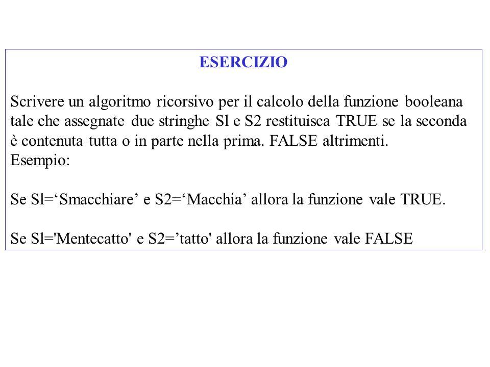 ESERCIZIO Scrivere un algoritmo ricorsivo per il calcolo della funzione booleana tale che assegnate due stringhe Sl e S2 restituisca TRUE se la seconda è contenuta tutta o in parte nella prima.