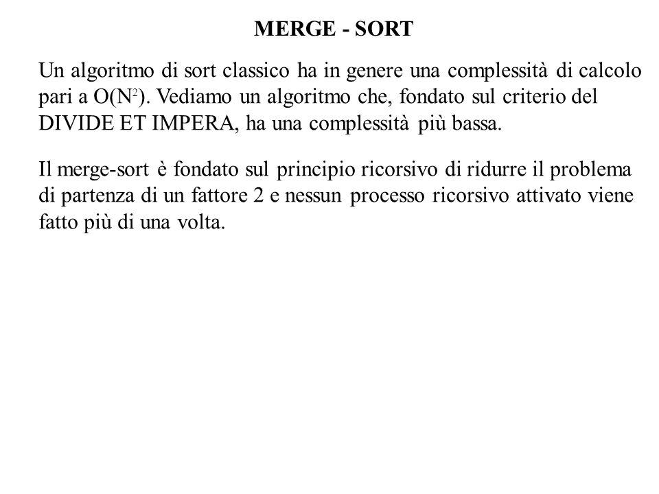 MERGE - SORT Un algoritmo di sort classico ha in genere una complessità di calcolo pari a O(N 2 ).