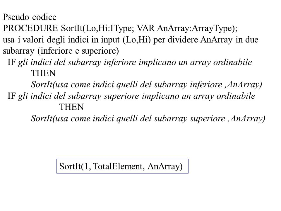 Pseudo codice PROCEDURE SortIt(Lo,Hi:IType; VAR AnArray:ArrayType); usa i valori degli indici in input (Lo,Hi) per dividere AnArray in due subarray (i