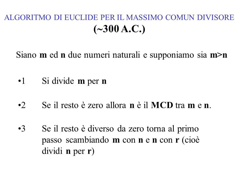 ALGORITMO DI EUCLIDE PER IL MASSIMO COMUN DIVISORE (  300 A.C.) Siano m ed n due numeri naturali e supponiamo sia m>n 1Si divide m per n 2Se il resto è zero allora n è il MCD tra m e n.