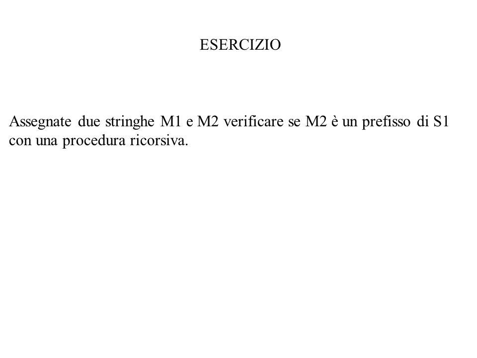 ESERCIZIO Assegnate due stringhe M1 e M2 verificare se M2 è un prefisso di S1 con una procedura ricorsiva.