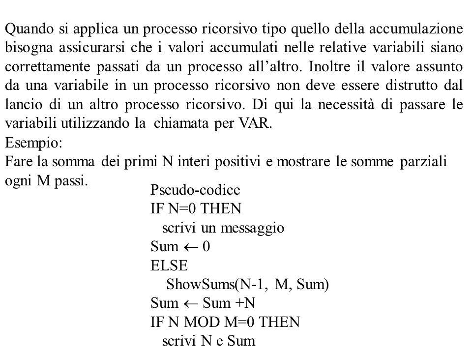 Quando si applica un processo ricorsivo tipo quello della accumulazione bisogna assicurarsi che i valori accumulati nelle relative variabili siano correttamente passati da un processo all'altro.