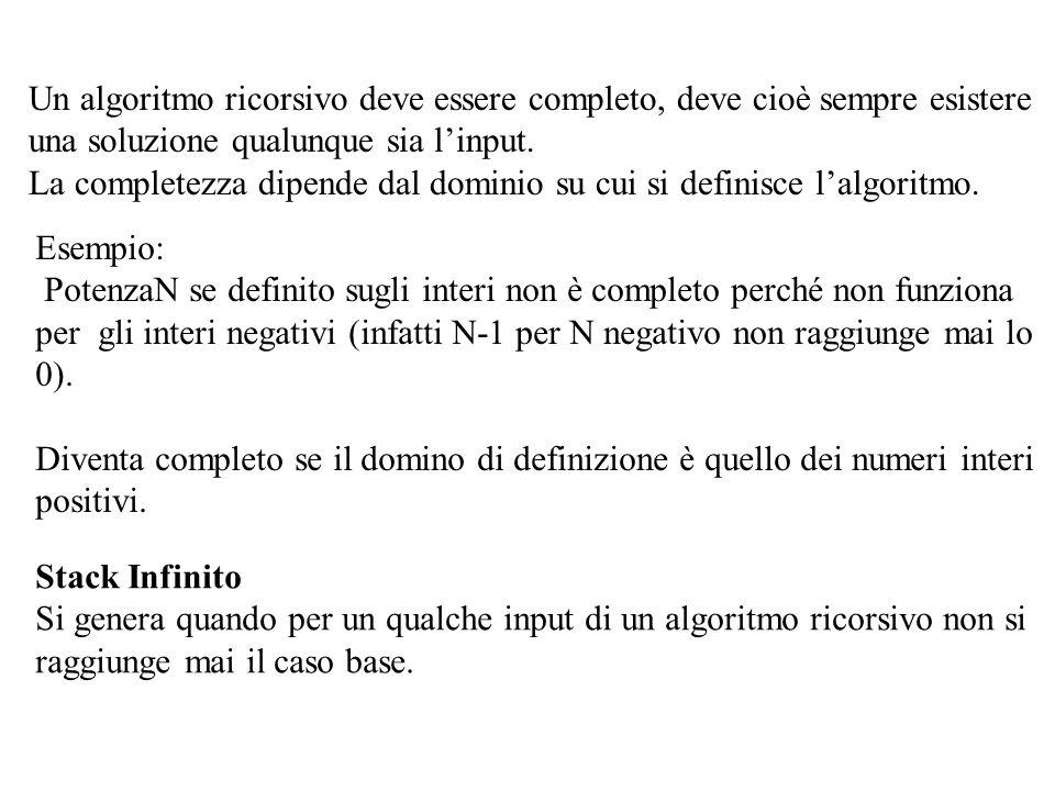 Un algoritmo ricorsivo deve essere completo, deve cioè sempre esistere una soluzione qualunque sia l'input.