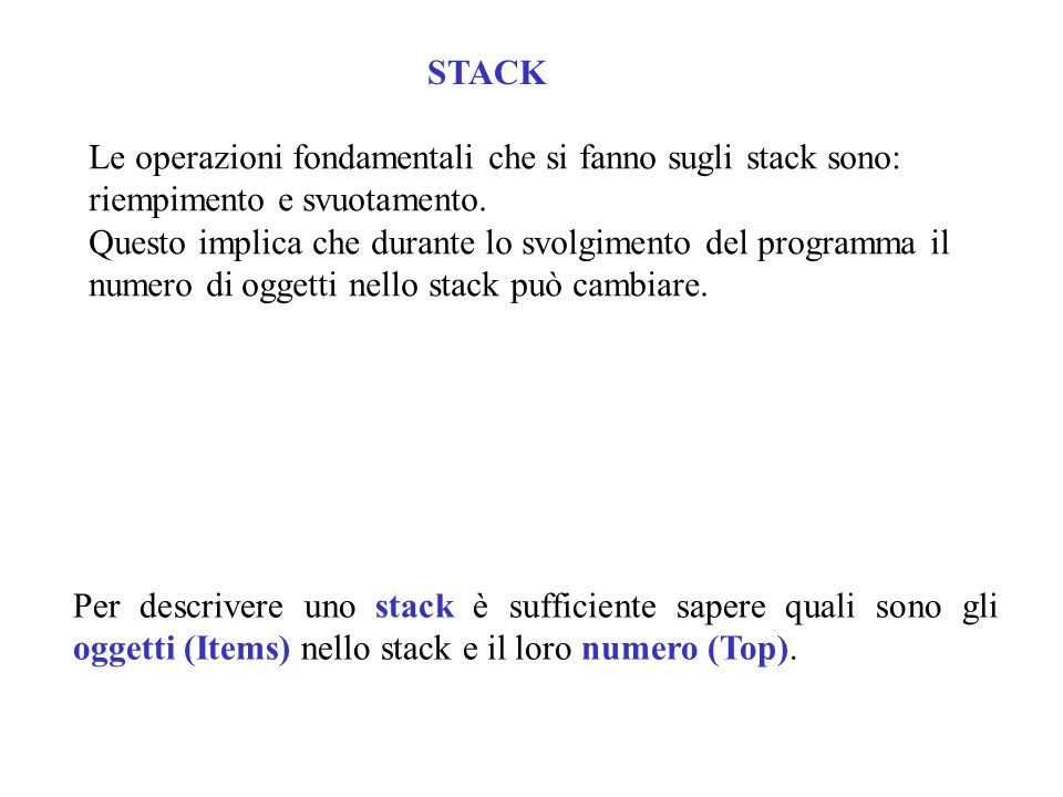 Le operazioni fondamentali che si fanno sugli stack sono: riempimento e svuotamento.