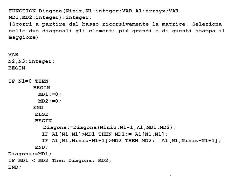 FUNCTION Diagona(Niniz,N1:integer;VAR A1:arrayx;VAR MD1,MD2:integer):integer; {Scorri a partire dal basso ricorsivamente la matrice.