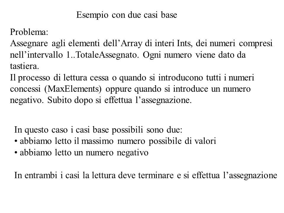 Esempio con due casi base Problema: Assegnare agli elementi dell'Array di interi Ints, dei numeri compresi nell'intervallo 1..TotaleAssegnato.