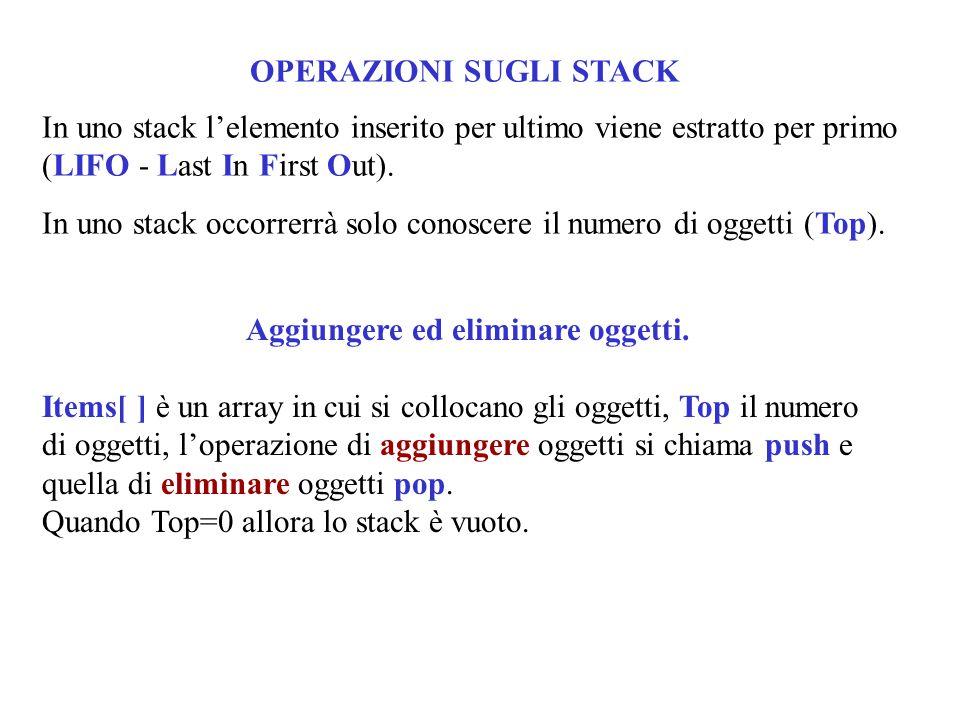 OPERAZIONI SUGLI STACK In uno stack l'elemento inserito per ultimo viene estratto per primo (LIFO - Last In First Out).