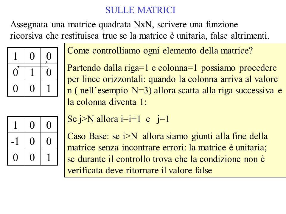 SULLE MATRICI Come controlliamo ogni elemento della matrice.