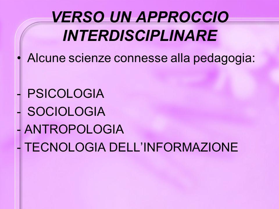 VERSO UN APPROCCIO INTERDISCIPLINARE Alcune scienze connesse alla pedagogia: -PSICOLOGIA -SOCIOLOGIA - ANTROPOLOGIA - TECNOLOGIA DELL'INFORMAZIONE