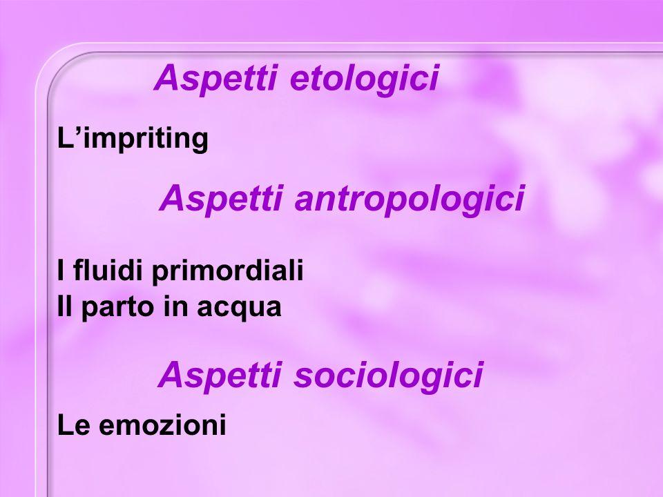 Aspetti etologici L'impriting I fluidi primordiali Il parto in acqua Aspetti antropologici Aspetti sociologici Le emozioni