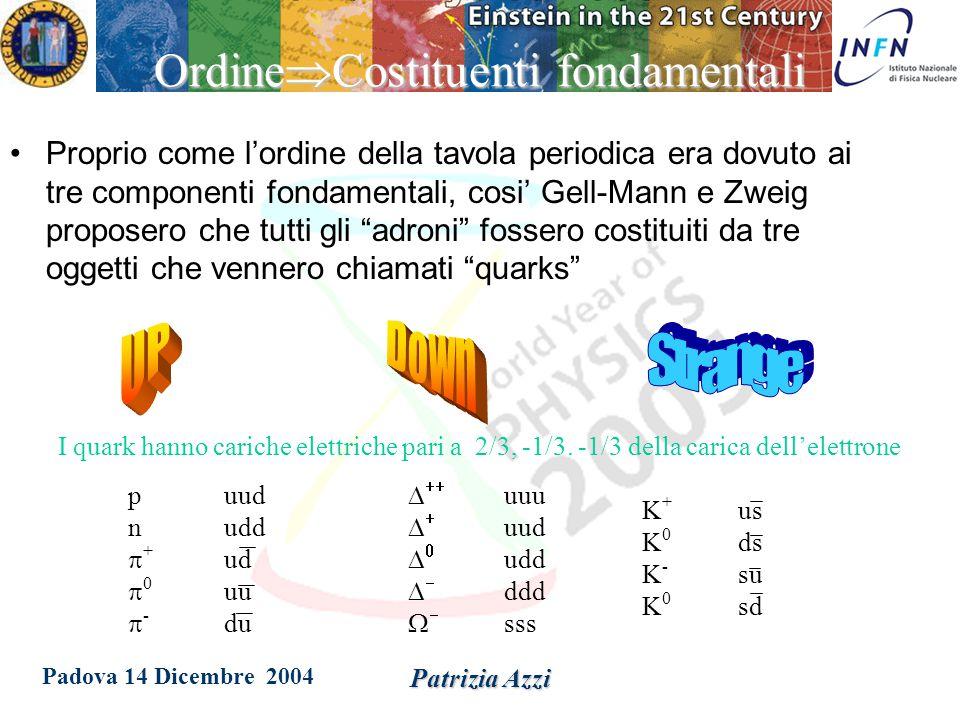 Padova 14 Dicembre 2004 Patrizia Azzi Un po' di ordine.