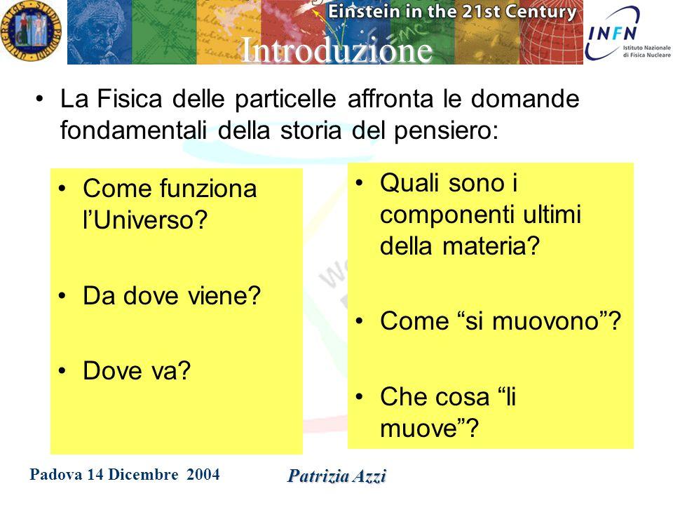 Padova 14 Dicembre 2004 Patrizia Azzi Introduzione alla fisica delle particelle  Un po' di storia  Il Modello Standard: particelle e forze  Uno sguardo su una recente scoperta