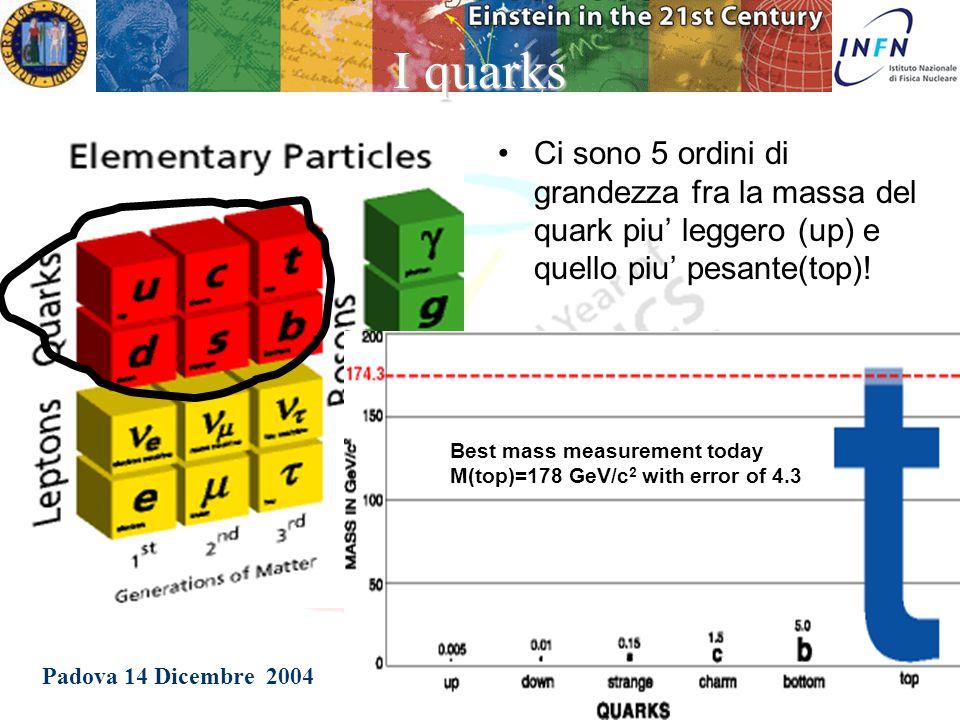 Padova 14 Dicembre 2004 Patrizia Azzi I leptoni I leptoni sono sei: –tre hanno carica elettrica (negativa) –tre non hanno carica elettrica Il leptone carico più conosciuto è l elettrone (e).