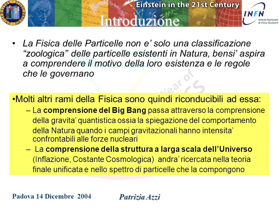 Padova 14 Dicembre 2004 Patrizia AzziIntroduzione Come funziona l'Universo.