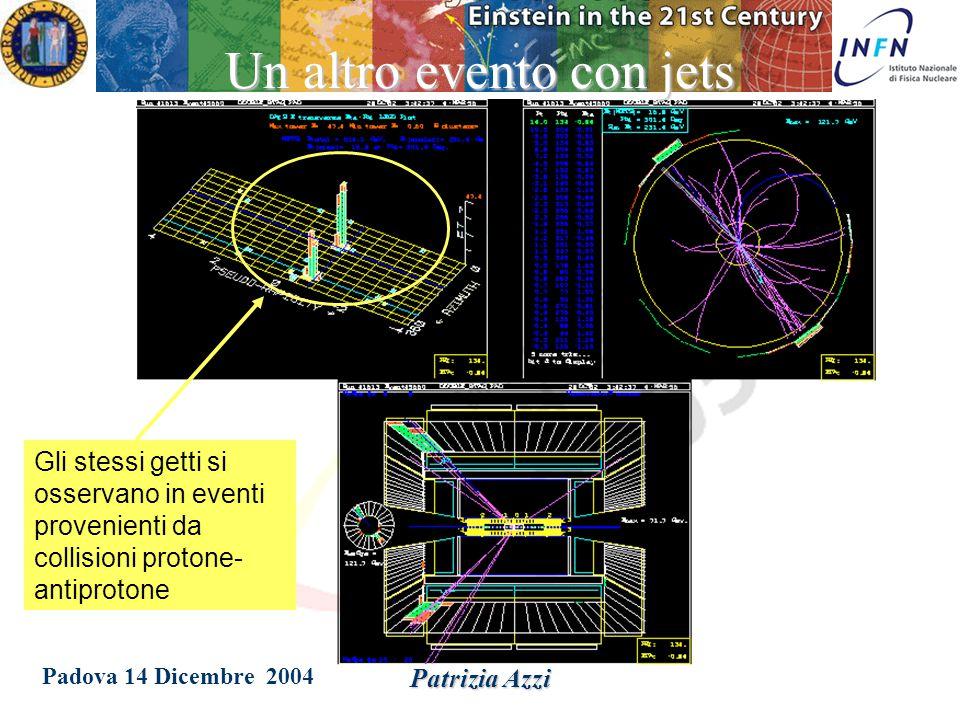 Padova 14 Dicembre 2004 Patrizia Azzi Negli anni '70, nelle collisioni elettrone-positrone ad alta energia, si osservano dei getti di energia, associabili alla presenza di gluoni dovuti dalla forza nucleare forte che si origina dalle interazioni tra quark.