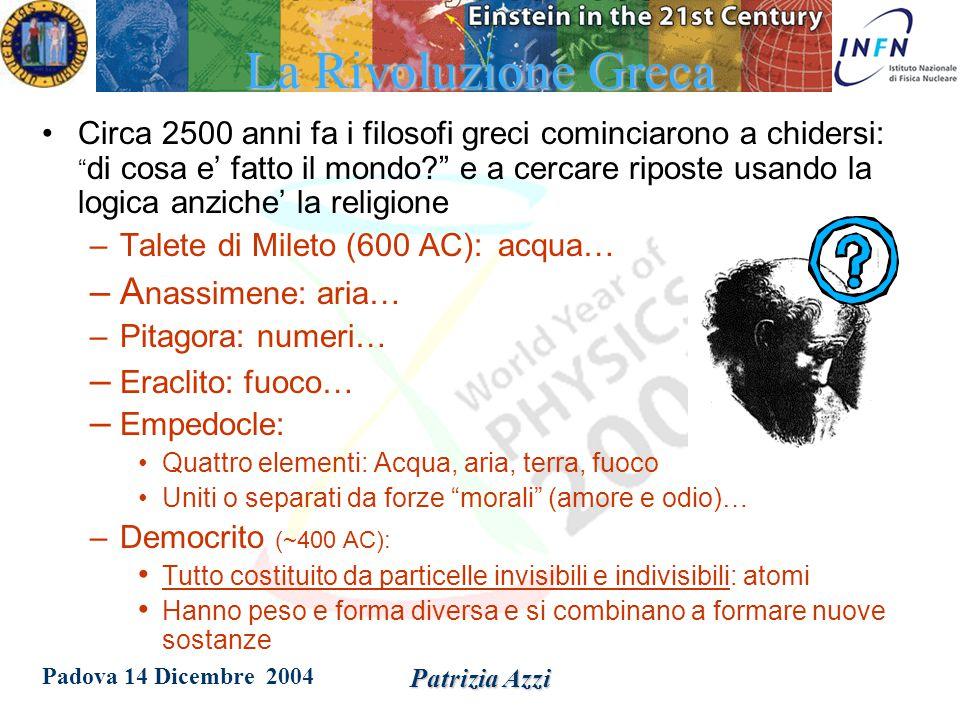 Padova 14 Dicembre 2004 Patrizia Azzi Le origini Nell antichità l uomo pensava che ogni cosa nel mondo fosse un composto dei quattro elementi: