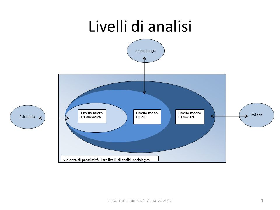 Livelli di analisi Livello macro La società Livello meso I ruoli Livello micro La dinamica Violenza di prossimità: i tre livelli di analisi sociologica 1C.