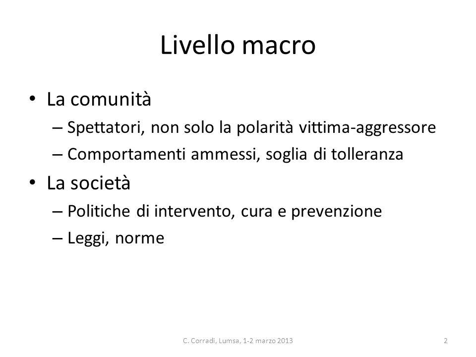 Livello macro La comunità – Spettatori, non solo la polarità vittima-aggressore – Comportamenti ammessi, soglia di tolleranza La società – Politiche d