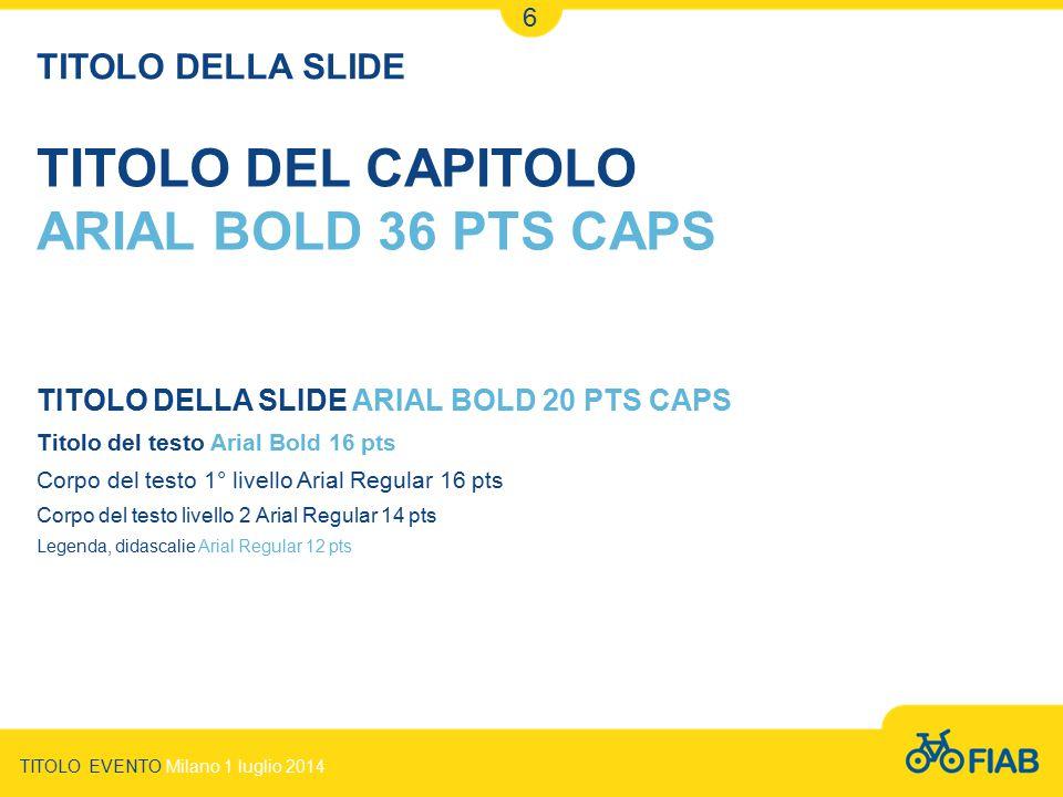TITOLO DELLA SLIDE ARIAL BOLD 20 PTS CAPS Titolo del testo Arial Bold 16 pts Corpo del testo 1° livello Arial Regular 16 pts Corpo del testo livello 2