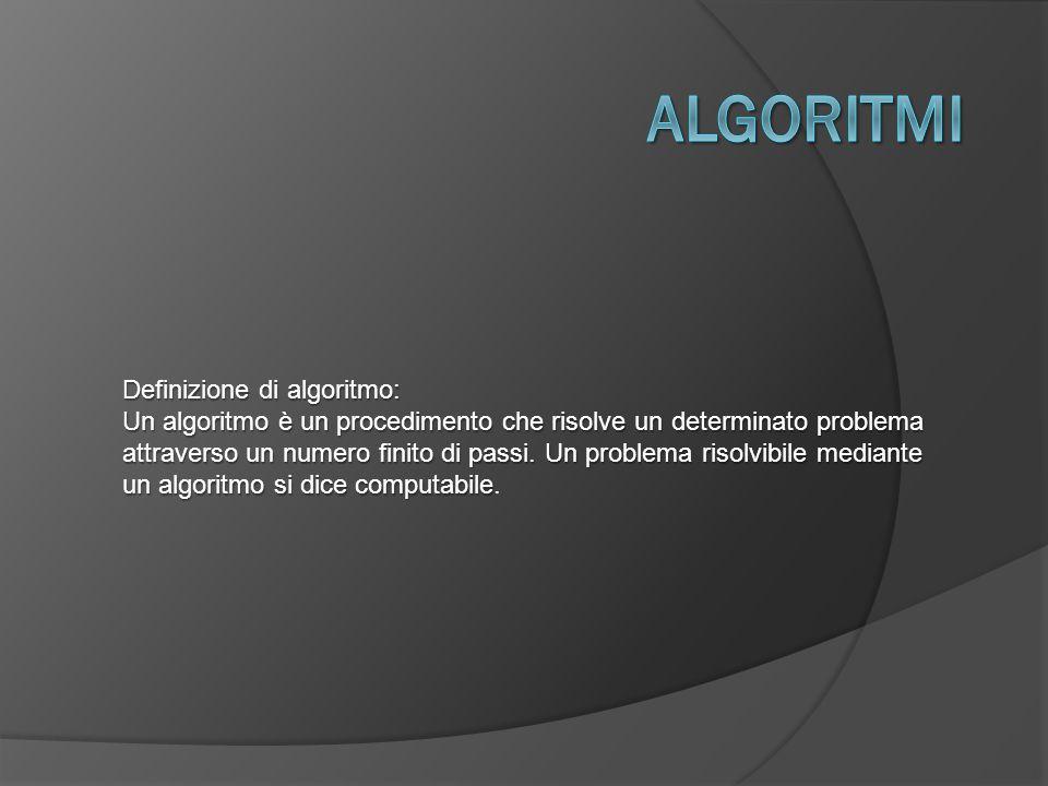 Definizione di algoritmo: Un algoritmo è un procedimento che risolve un determinato problema attraverso un numero finito di passi.