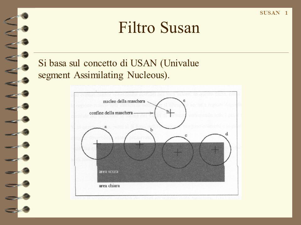 Si basa sul concetto di USAN (Univalue segment Assimilating Nucleous). Filtro Susan SUSAN 1