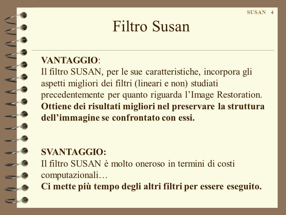 VANTAGGIO: Il filtro SUSAN, per le sue caratteristiche, incorpora gli aspetti migliori dei filtri (lineari e non) studiati precedentemente per quanto riguarda l'Image Restoration.