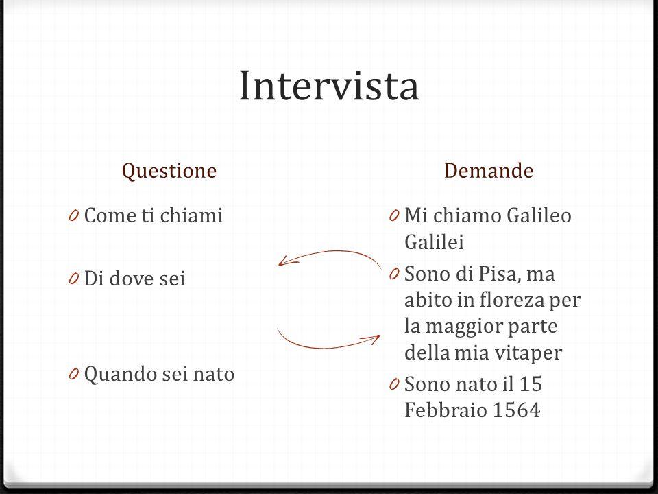 Intervista QuestioneDemande 0 Come ti chiami 0 Di dove sei 0 Quando sei nato 0 Mi chiamo Galileo Galilei 0 Sono di Pisa, ma abito in floreza per la maggior parte della mia vitaper 0 Sono nato il 15 Febbraio 1564