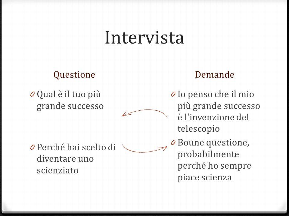 Intervista QuestioneDemande 0 Grazie per tuo tempo Galileo 0 Alla prossima volta Galileo, ciao 0 Prego, è stato divertente, pui bene di essere morti 0 Ciao, hanno una buona giornata.