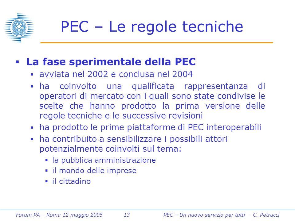 Forum PA – Roma 12 maggio 2005 13PEC – Un nuovo servizio per tutti - C. Petrucci PEC – Le regole tecniche  La fase sperimentale della PEC  avviata n