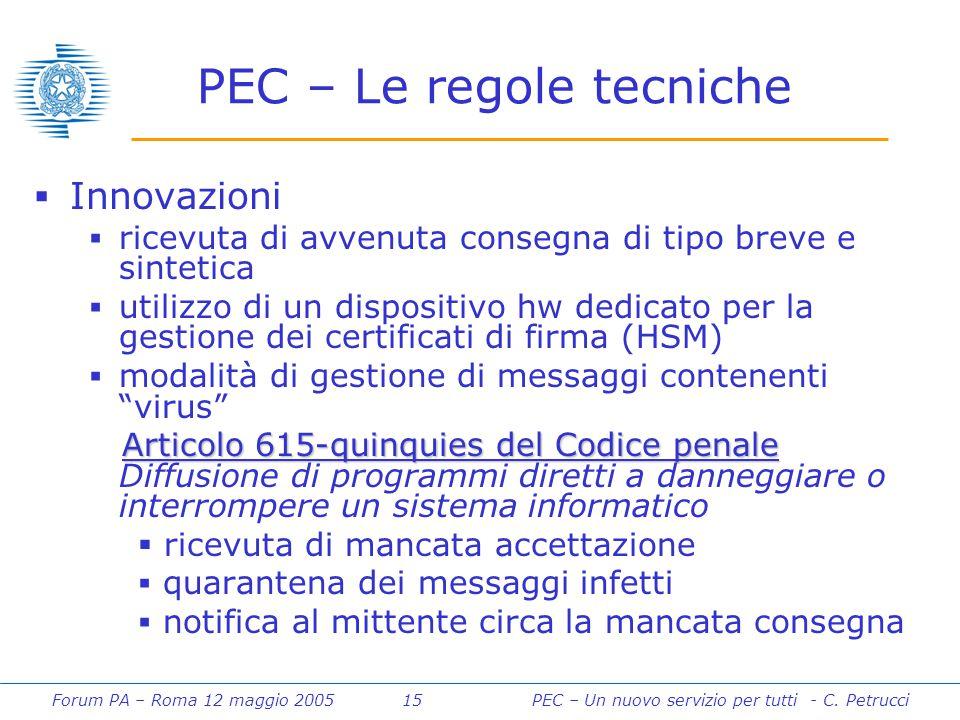 Forum PA – Roma 12 maggio 2005 15PEC – Un nuovo servizio per tutti - C. Petrucci PEC – Le regole tecniche  Innovazioni  ricevuta di avvenuta consegn