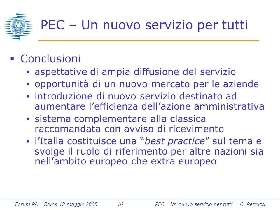 Forum PA – Roma 12 maggio 2005 16PEC – Un nuovo servizio per tutti - C. Petrucci PEC – Un nuovo servizio per tutti  Conclusioni  aspettative di ampi