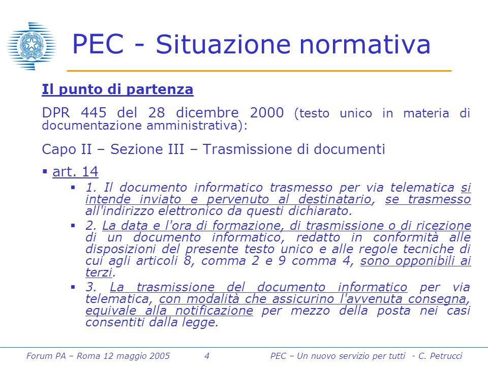 Forum PA – Roma 12 maggio 2005 4PEC – Un nuovo servizio per tutti - C. Petrucci PEC - Situazione normativa Il punto di partenza DPR 445 del 28 dicembr