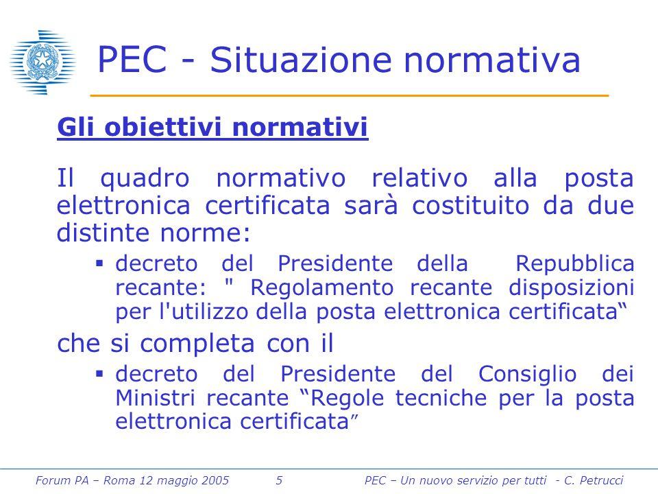 Forum PA – Roma 12 maggio 2005 5PEC – Un nuovo servizio per tutti - C. Petrucci PEC - Situazione normativa Gli obiettivi normativi Il quadro normativo