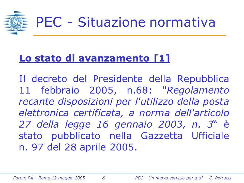 Forum PA – Roma 12 maggio 2005 6PEC – Un nuovo servizio per tutti - C. Petrucci PEC - Situazione normativa Lo stato di avanzamento [1] Il decreto del