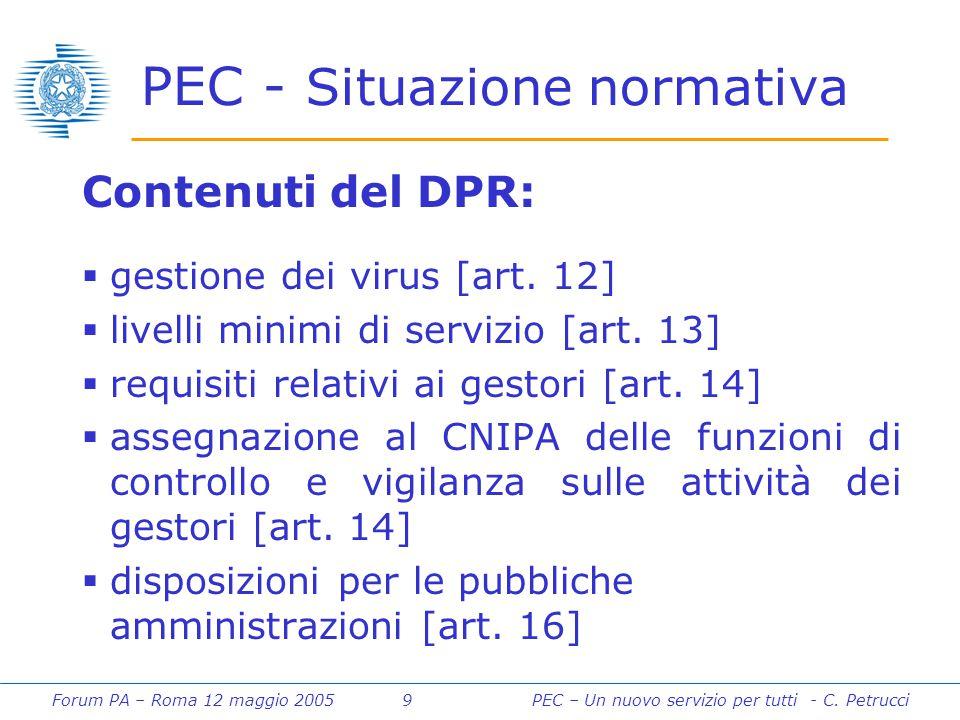 Forum PA – Roma 12 maggio 2005 9PEC – Un nuovo servizio per tutti - C. Petrucci PEC - Situazione normativa Contenuti del DPR:  gestione dei virus [ar