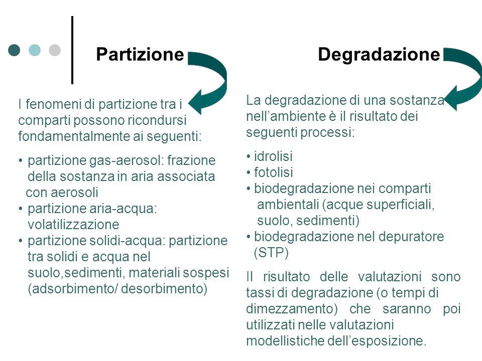 Partizione Degradazione I fenomeni di partizione tra i comparti possono ricondursi fondamentalmente ai seguenti: partizione gas-aerosol: frazione della sostanza in aria associata con aerosoli partizione aria-acqua: volatilizzazione partizione solidi-acqua: partizione tra solidi e acqua nel suolo,sedimenti, materiali sospesi (adsorbimento/ desorbimento) La degradazione di una sostanza nell'ambiente è il risultato dei seguenti processi: idrolisi fotolisi biodegradazione nei comparti ambientali (acque superficiali, suolo, sedimenti) biodegradazione nel depuratore (STP) Il risultato delle valutazioni sono tassi di degradazione (o tempi di dimezzamento) che saranno poi utilizzati nelle valutazioni modellistiche dell'esposizione.