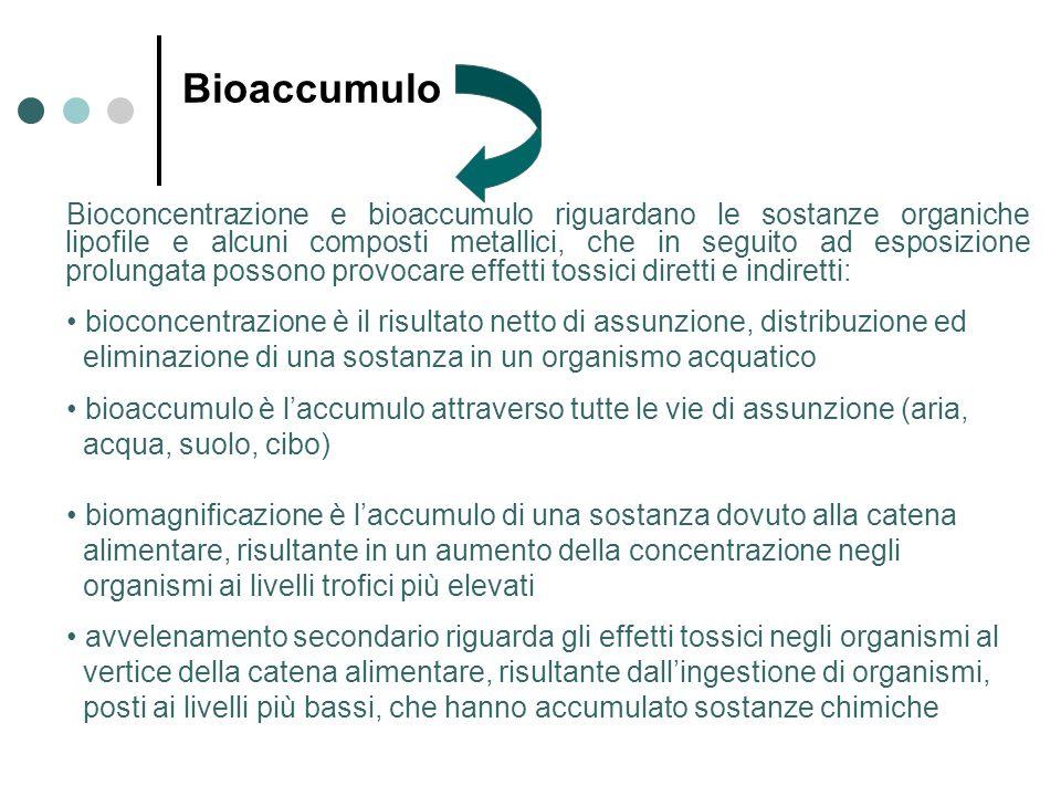 Bioaccumulo Bioconcentrazione e bioaccumulo riguardano le sostanze organiche lipofile e alcuni composti metallici, che in seguito ad esposizione prolungata possono provocare effetti tossici diretti e indiretti: bioconcentrazione è il risultato netto di assunzione, distribuzione ed eliminazione di una sostanza in un organismo acquatico bioaccumulo è l'accumulo attraverso tutte le vie di assunzione (aria, acqua, suolo, cibo) biomagnificazione è l'accumulo di una sostanza dovuto alla catena alimentare, risultante in un aumento della concentrazione negli organismi ai livelli trofici più elevati avvelenamento secondario riguarda gli effetti tossici negli organismi al vertice della catena alimentare, risultante dall'ingestione di organismi, posti ai livelli più bassi, che hanno accumulato sostanze chimiche