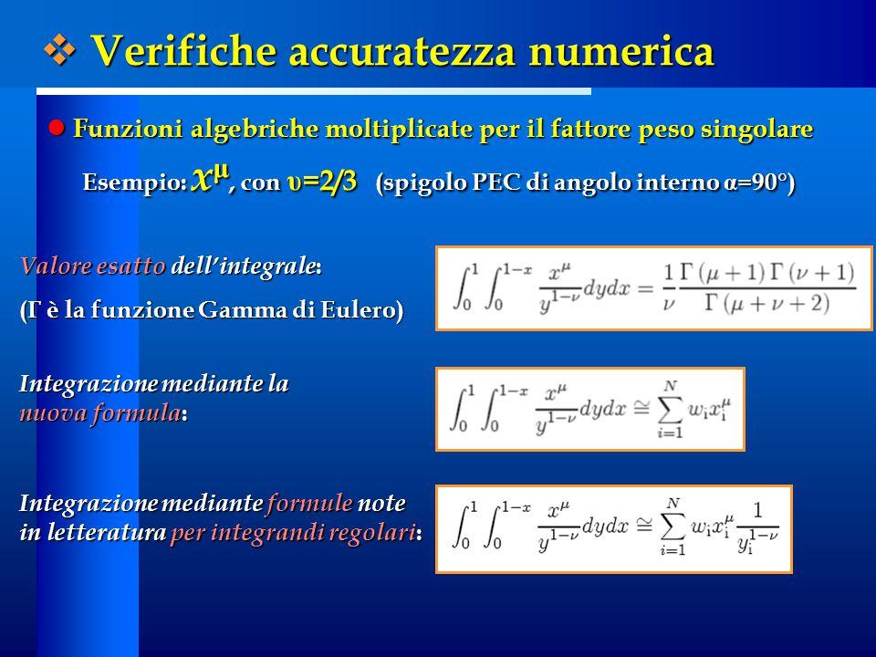  Verifiche accuratezza numerica Funzioni algebriche moltiplicate per il fattore peso singolare Funzioni algebriche moltiplicate per il fattore peso singolare Esempio: x μ, con υ =2/3 (spigolo PEC di angolo interno α =90°) Valore esatto dell'integrale : (Γ è la funzione Gamma di Eulero) Integrazione mediante la nuova formula : Integrazione mediante formule note in letteratura per integrandi regolari :
