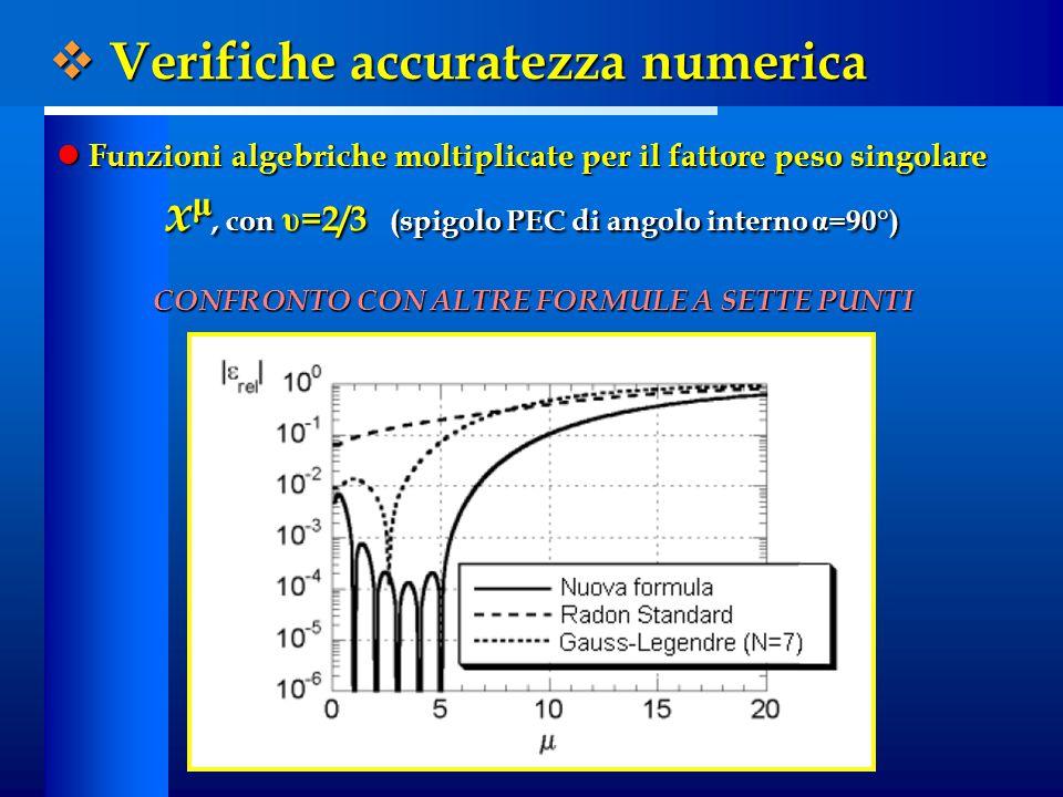  Verifiche accuratezza numerica Funzioni algebriche moltiplicate per il fattore peso singolare Funzioni algebriche moltiplicate per il fattore peso singolare x μ, con υ =2/3 (spigolo PEC di angolo interno α =90°) CONFRONTO CON ALTRE FORMULE A SETTE PUNTI