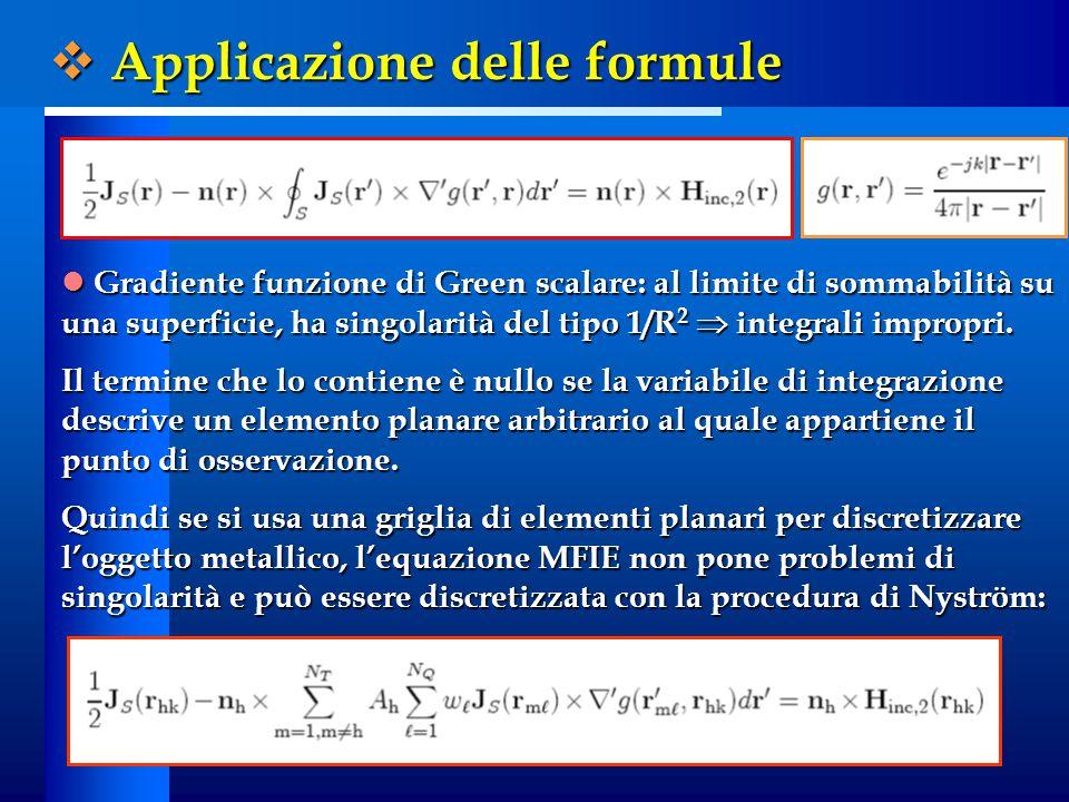 Gradiente funzione di Green scalare: al limite di sommabilità su una superficie, ha singolarità del tipo 1/R 2  integrali impropri. Gradiente funzion