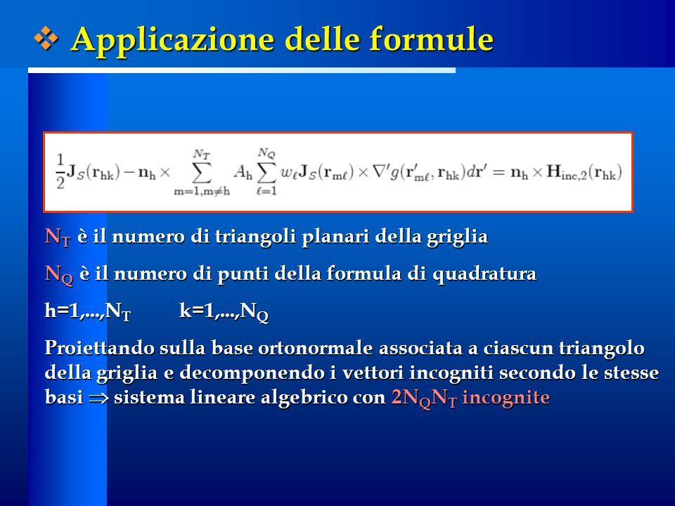 N T è il numero di triangoli planari della griglia N Q è il numero di punti della formula di quadratura h=1,...,N T k=1,...,N Q Proiettando sulla base ortonormale associata a ciascun triangolo della griglia e decomponendo i vettori incogniti secondo le stesse basi  sistema lineare algebrico con 2N Q N T incognite  Applicazione delle formule