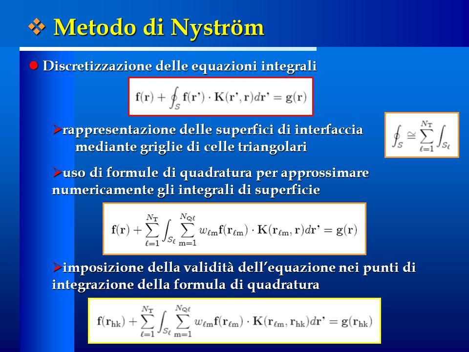 Discretizzazione delle equazioni integrali Discretizzazione delle equazioni integrali  rappresentazione delle superfici di interfaccia mediante griglie di celle triangolari  uso di formule di quadratura per approssimare numericamente gli integrali di superficie  imposizione della validità dell'equazione nei punti di integrazione della formula di quadratura  Metodo di Nyström