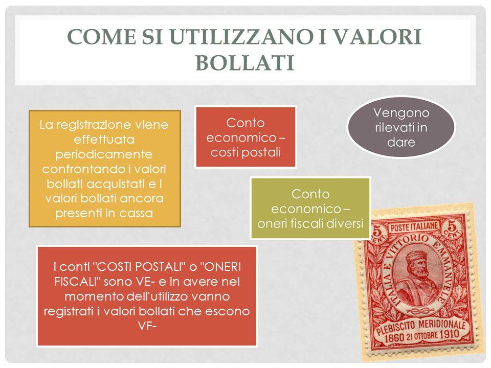 COME SI UTILIZZANO I VALORI BOLLATI La registrazione viene effettuata periodicamente confrontando i valori bollati acquistati e i valori bollati ancor