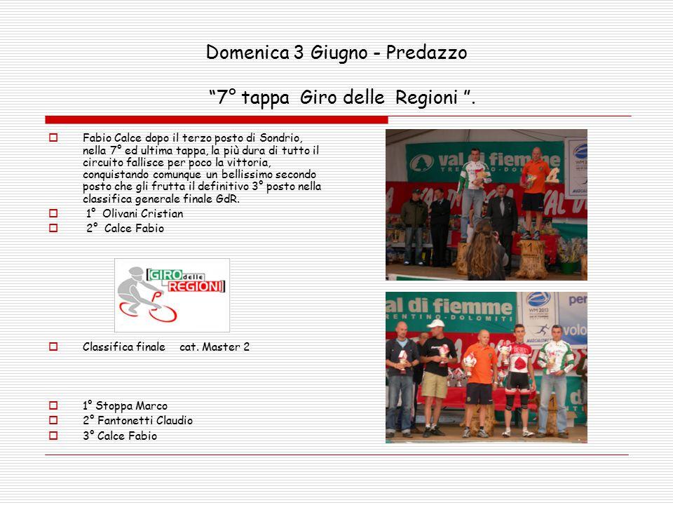 Domenica 3 Giugno - Predazzo 7° tappa Giro delle Regioni .