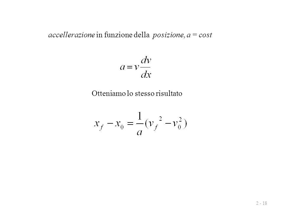 2 - 18 accellerazione in funzione della posizione, a = cost Otteniamo lo stesso risultato
